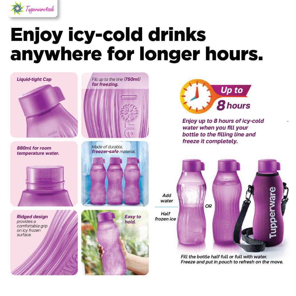 Tupperware Xtreme Aqua Freezer Proof Bottles with Pouch - Purple/Green