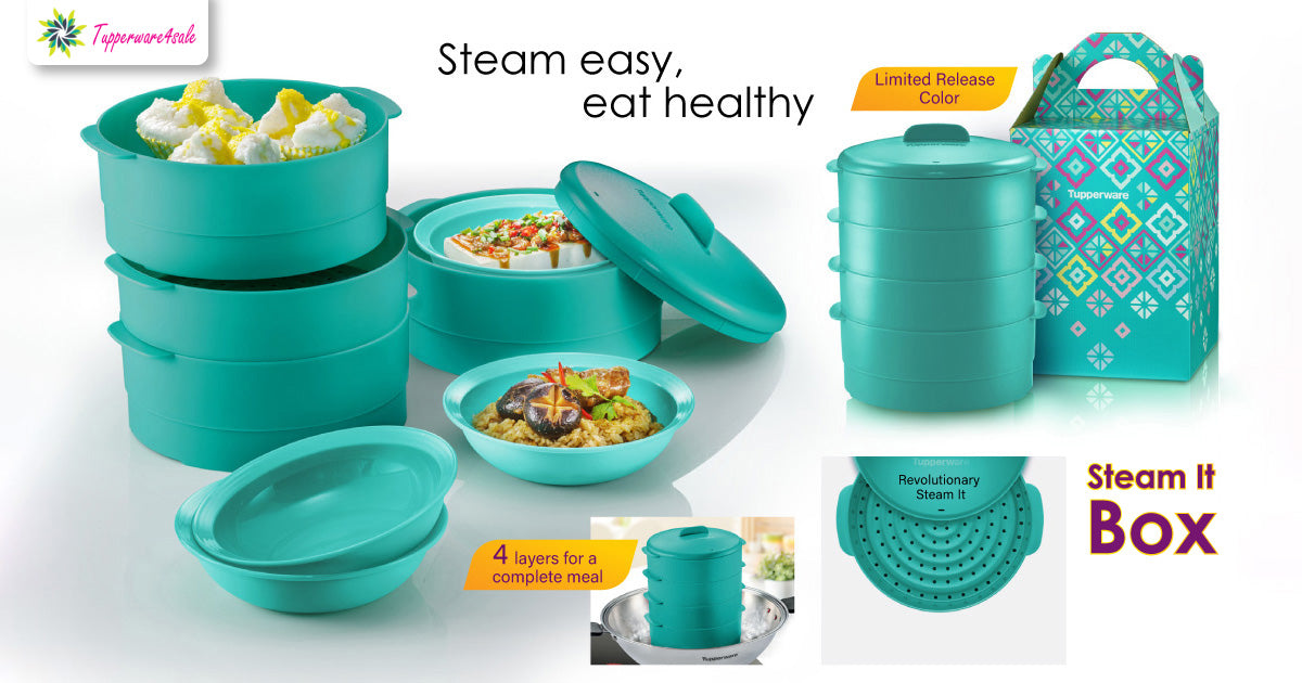 Tupperware Steam It Blue with Gift Box