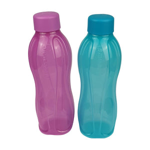 Tupperware Eco Drinking Bottles 750ml Screw Top (Purple & Cyan)