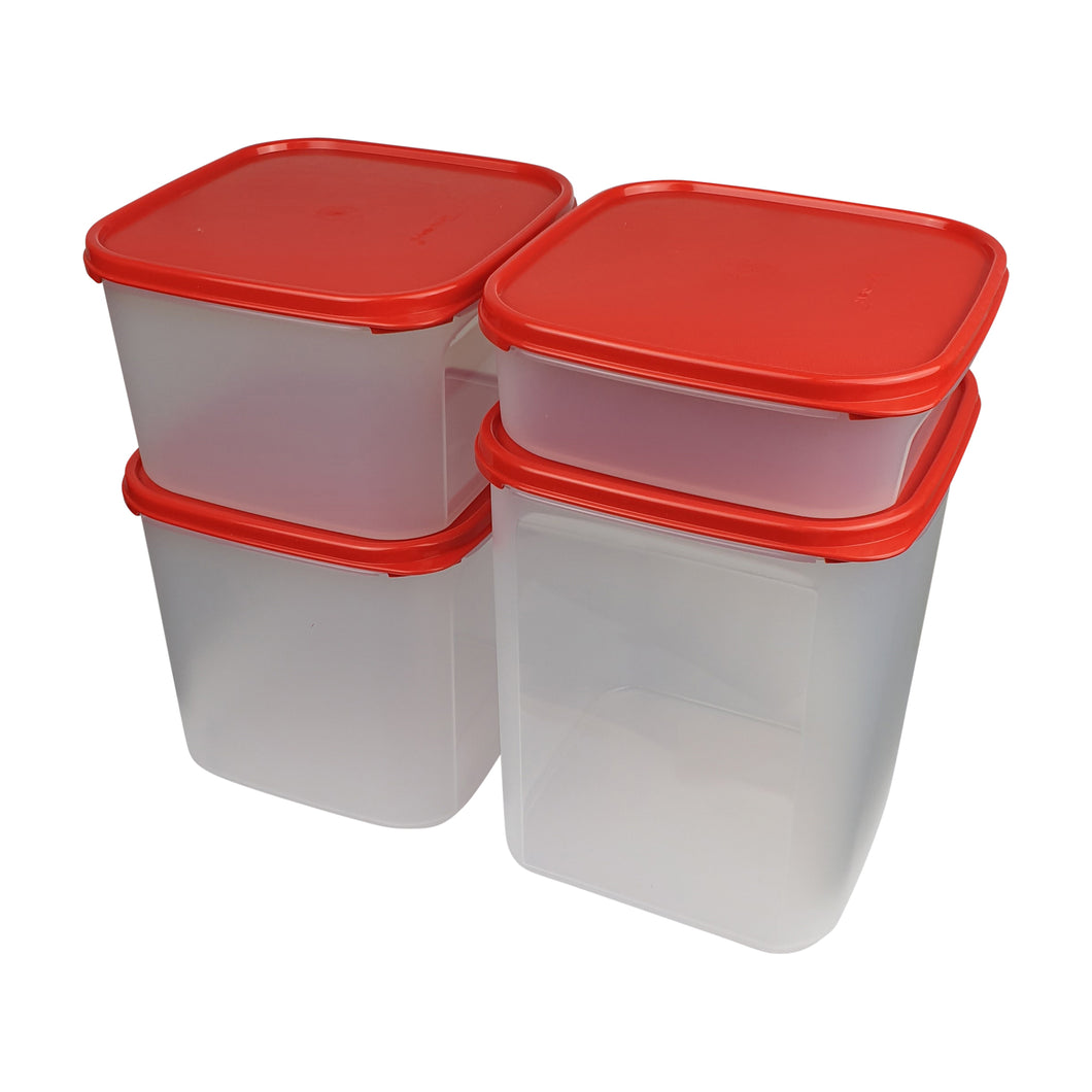 Tupperware Modular Mates Red Square Set With Freebies