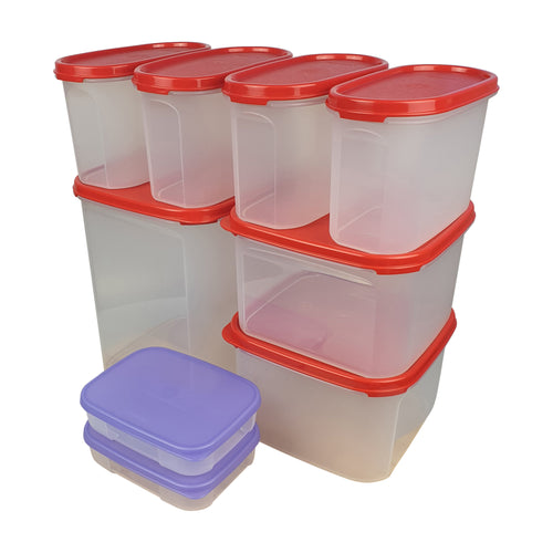 Tupperware Modular Mates Essential Set - Red with Extra Lids & Freebies