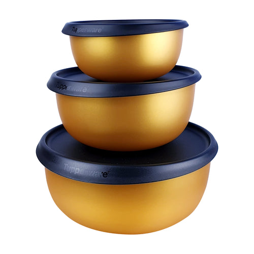 Tupperware Limited Edition Gold Triple Wonders Bowls Gift Set