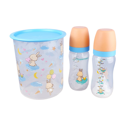 Tupperware Happy Bunny Baby Set Container + Milk Bottles