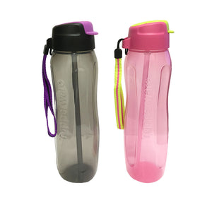 Tupperware Slim Eco Bottle 750ml Set With Straw & Strap