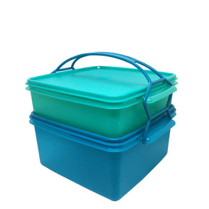 Tupperware Jumbo Goody Box with Carolier - Blue & Green