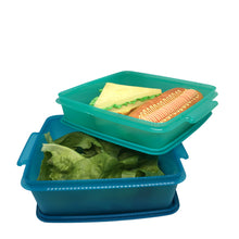 Load image into Gallery viewer, Tupperware Jumbo Goody Box with Carolier - Blue & Green