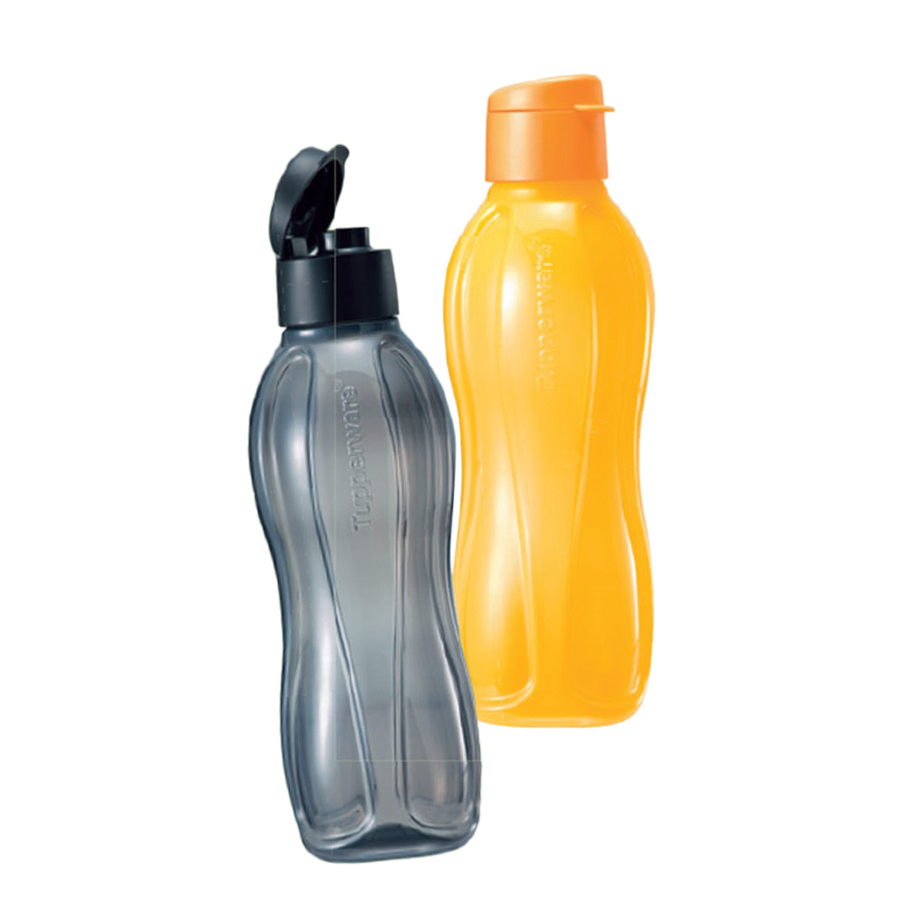 Tupperware Eco Drinking Bottles 1L Flip Top (Black & Yellow)