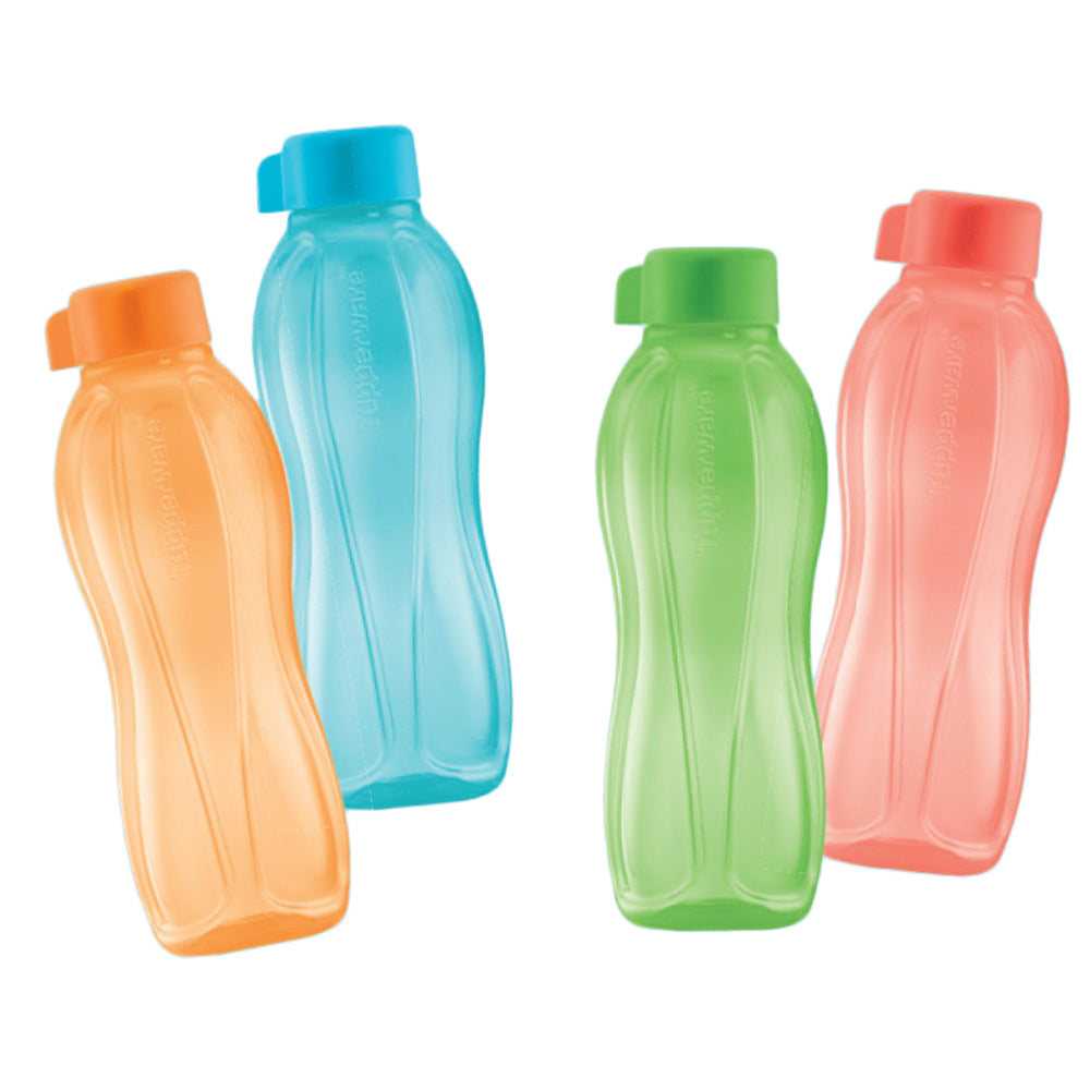 Tupperware Eco Drinking Bottles 500ml Screw Top x 4 Units