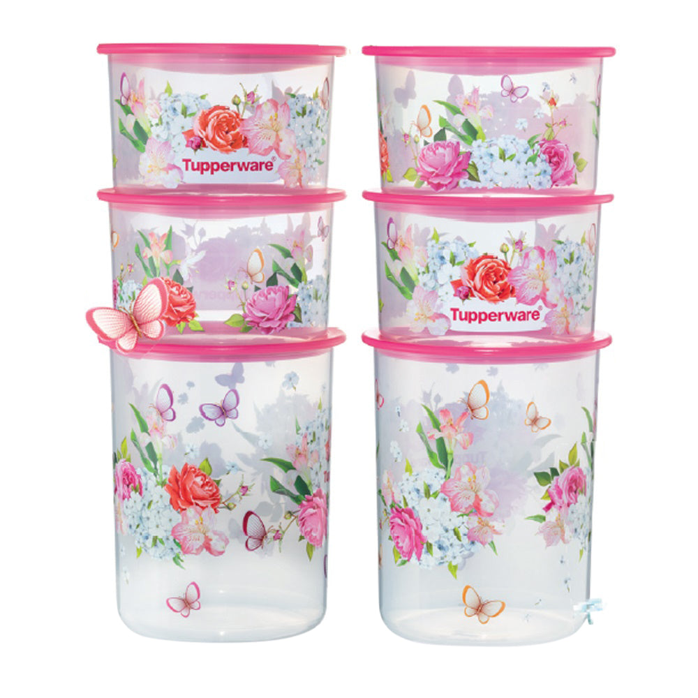 Tupperware One Touch Canister Spring Garden Set