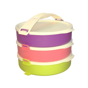 Tupperware Microweavable Round Click To Go Lunch Box - 3 Levels