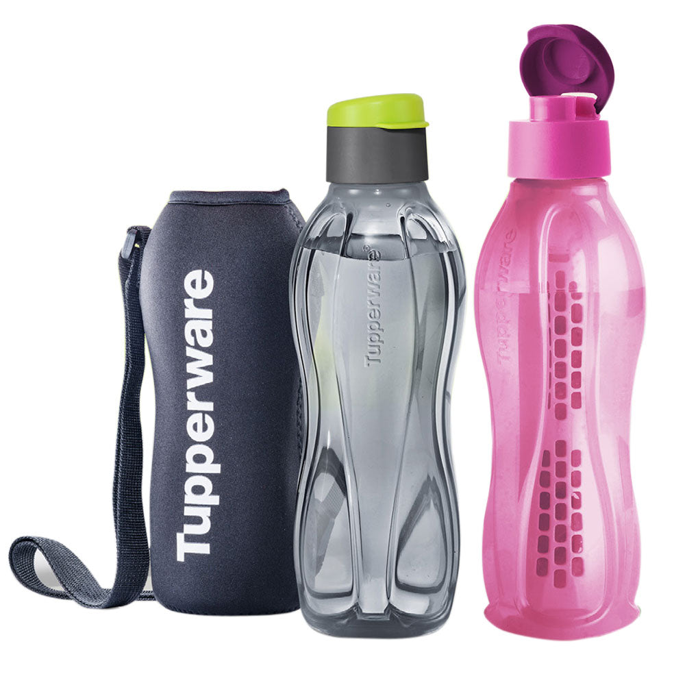 Tupperware Eco Drinking Bottles 1.5L Flip Top with Fruit Infuser & Pouch