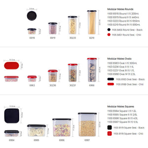 Tupperware Modular Mates Essential Set - Black with Extra Lids & Freebies