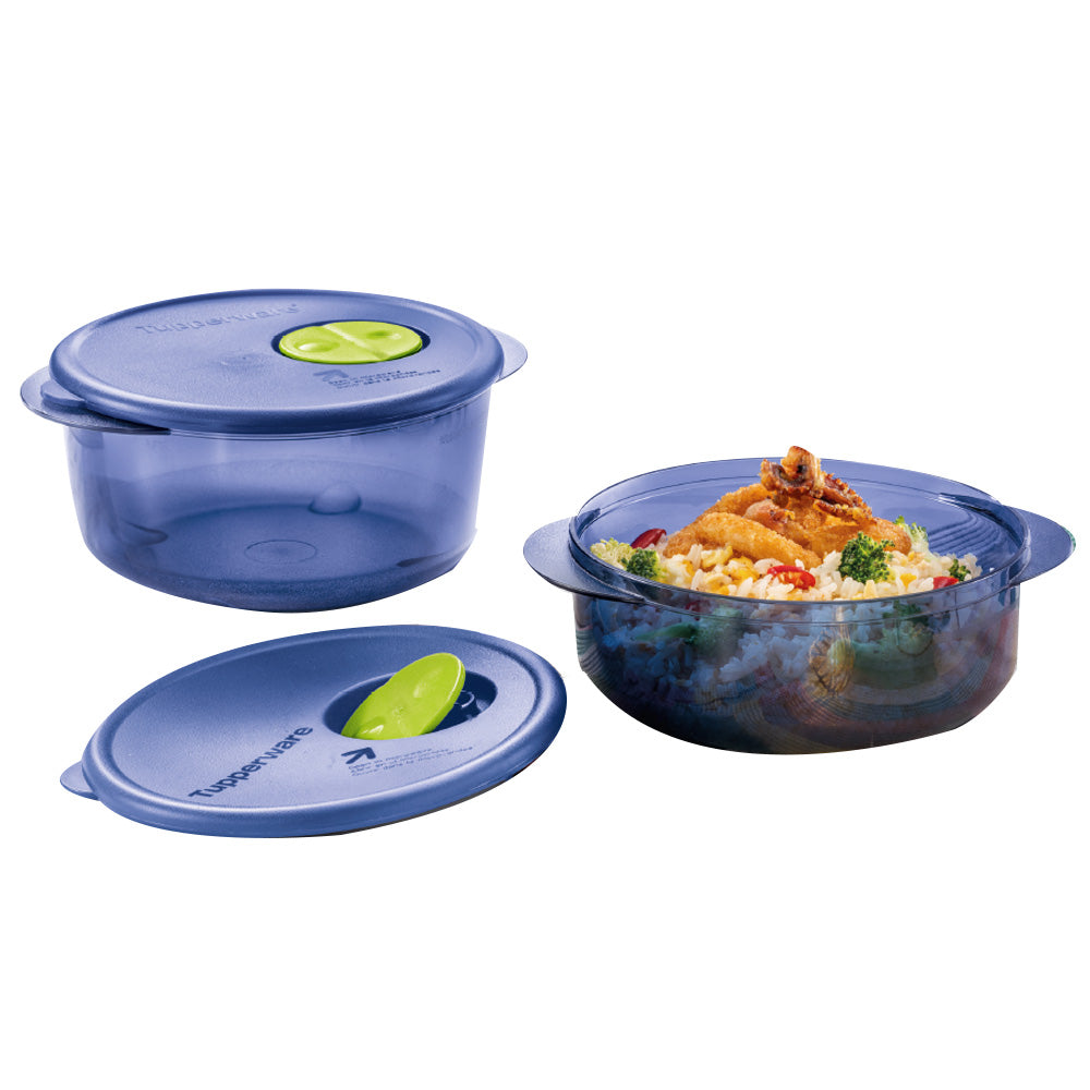 Tupperware Rock N Serve Microwaveable Round Lunch Box Set