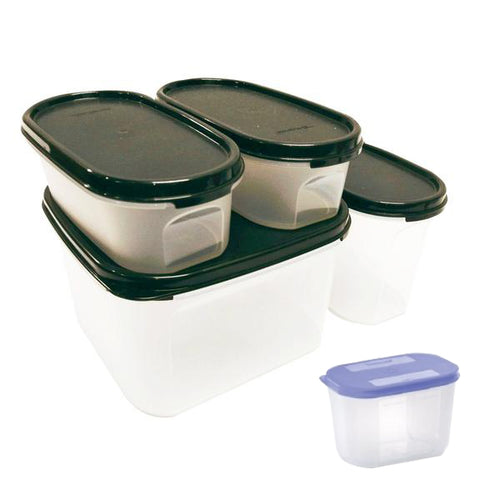 Tupperware Modular Mates Starter Set - Black with Extra Lids & Freebies