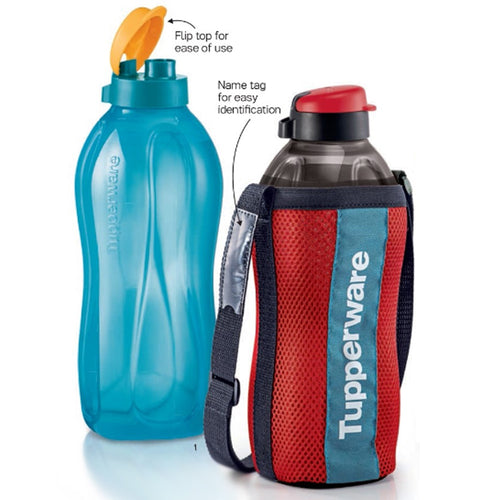 Tupperware Giant Eco Bottle (Blue & Black) with Freebies