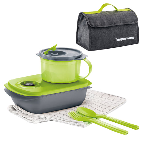 Tupperware MySmart Lunch Set (Lunch Box + Soup Mug + Cutlery Set)