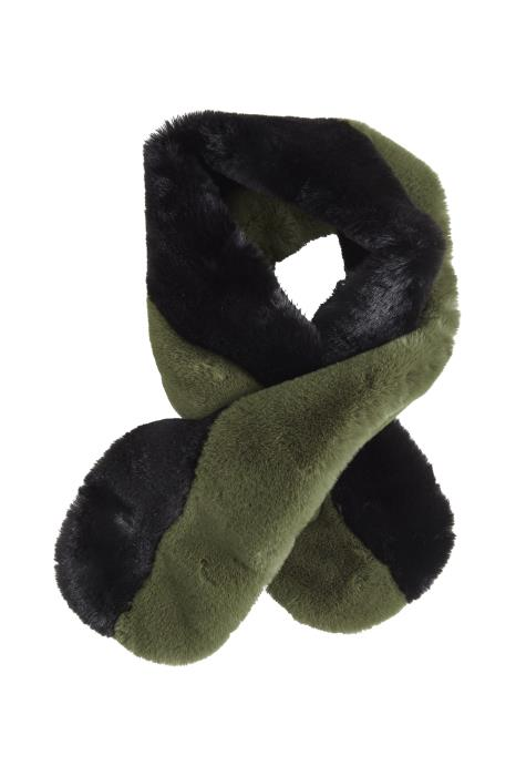Black and Green Faux Fur Stole Scarf