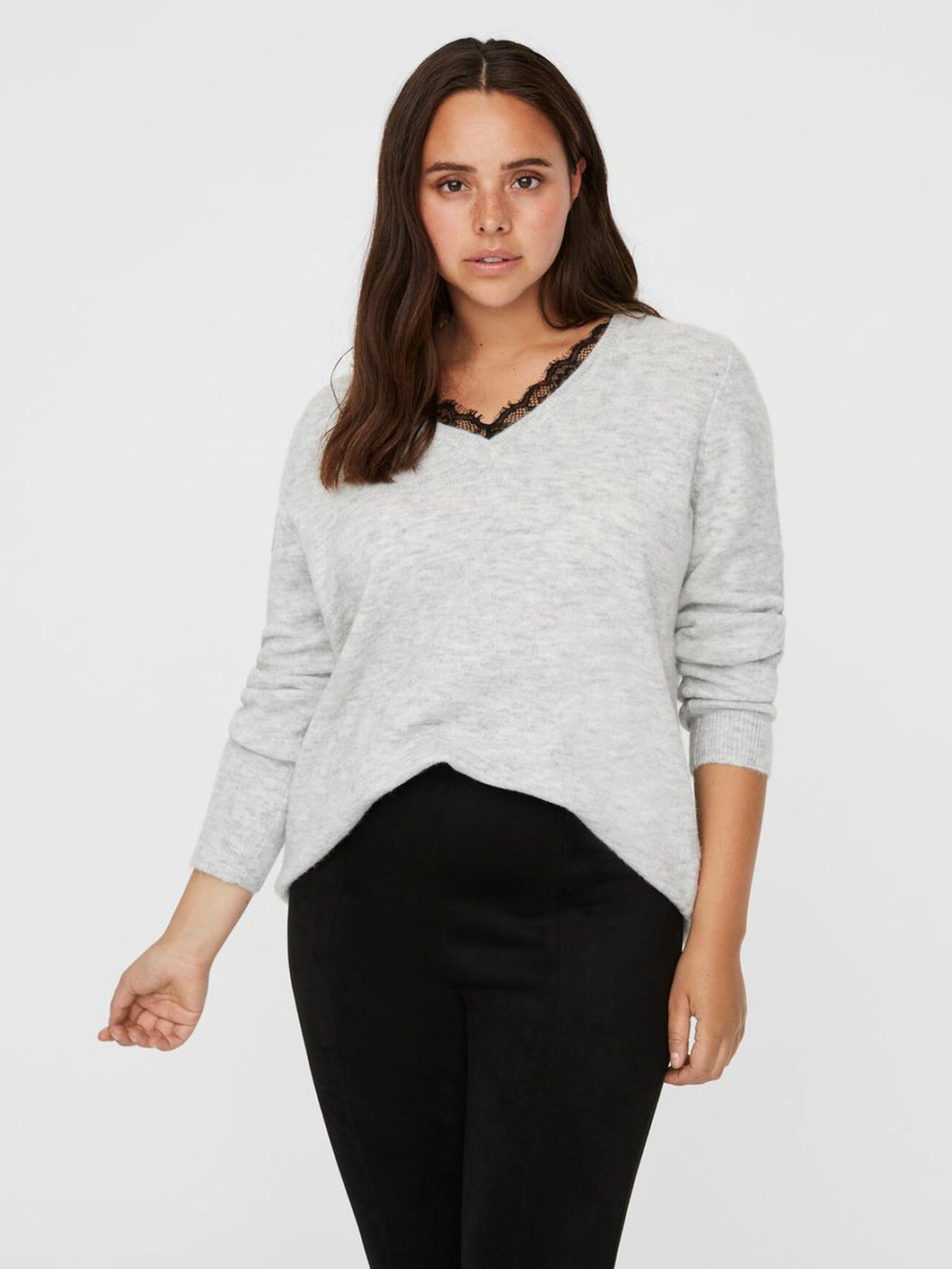 Iva Grey Lace Knitted Jumper - Curve