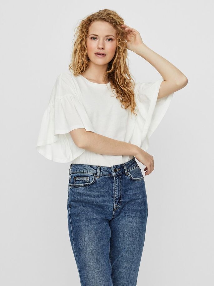 White Frill Sleeve T Shirt
