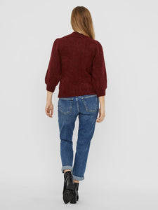 Diana Burgundy High Neck 3/4 Sleeve Cardigan