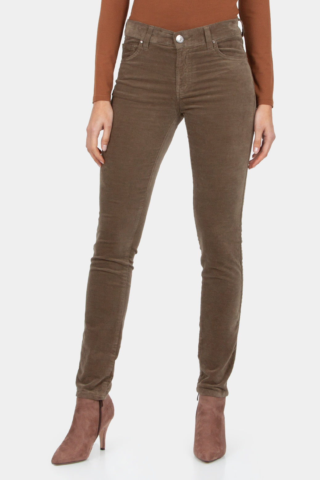 Khaki Suede Jeans with Diamante Pockets Trousers