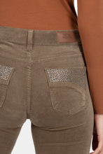 Load image into Gallery viewer, Khaki Suede Jeans with Diamante Pockets Trousers