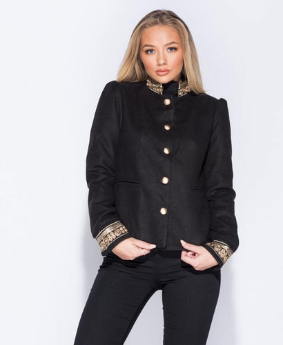 Black and Gold Military Style Jacket