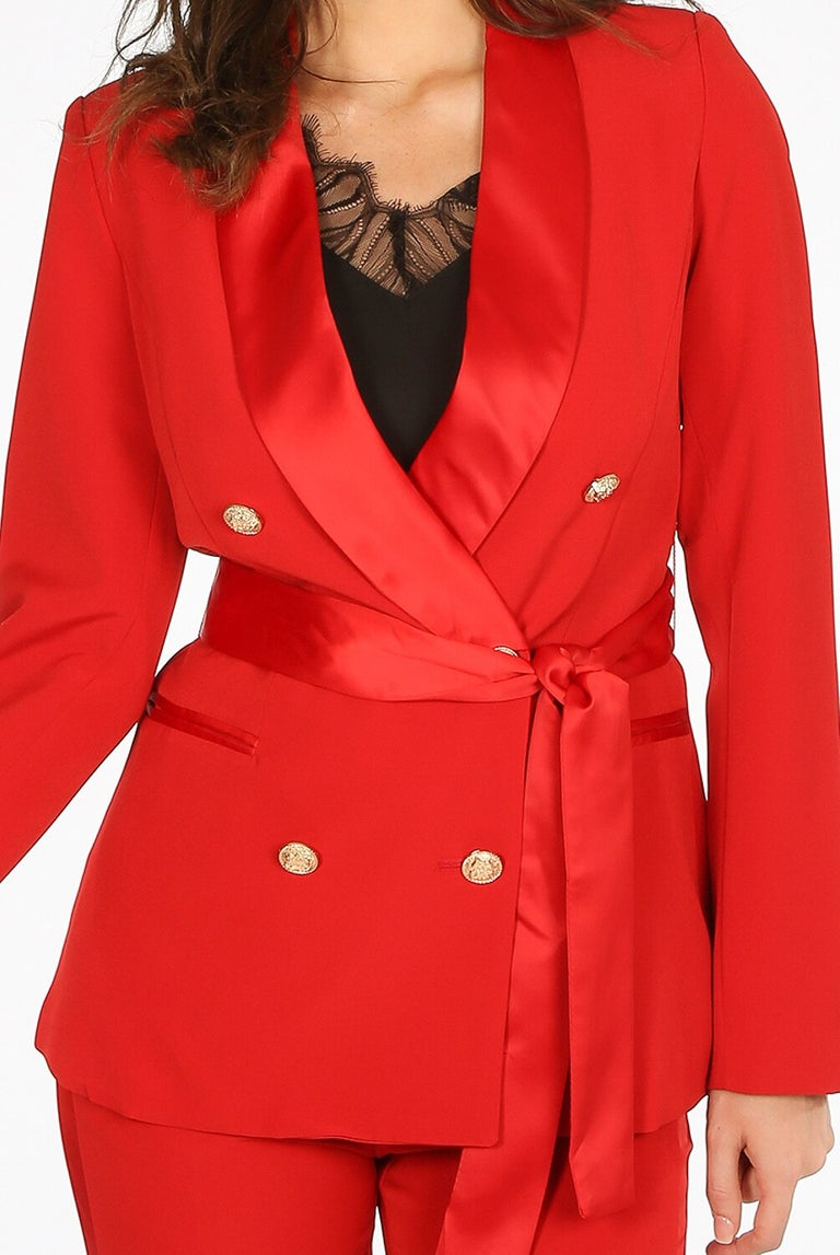 Red Double Breasted Blazer with Satin Lapel and Satin Tie Belt