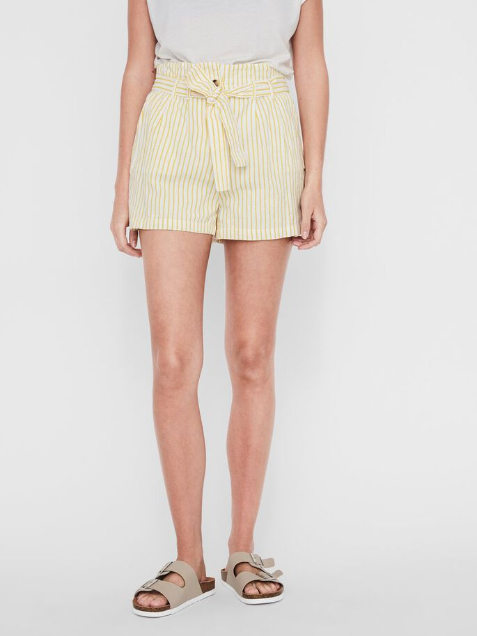 Yellow and White Stripe Shorts