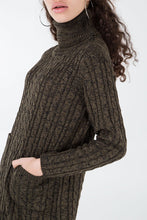 Load image into Gallery viewer, Payton Roll Neck Cable Knit Dress - Khaki
