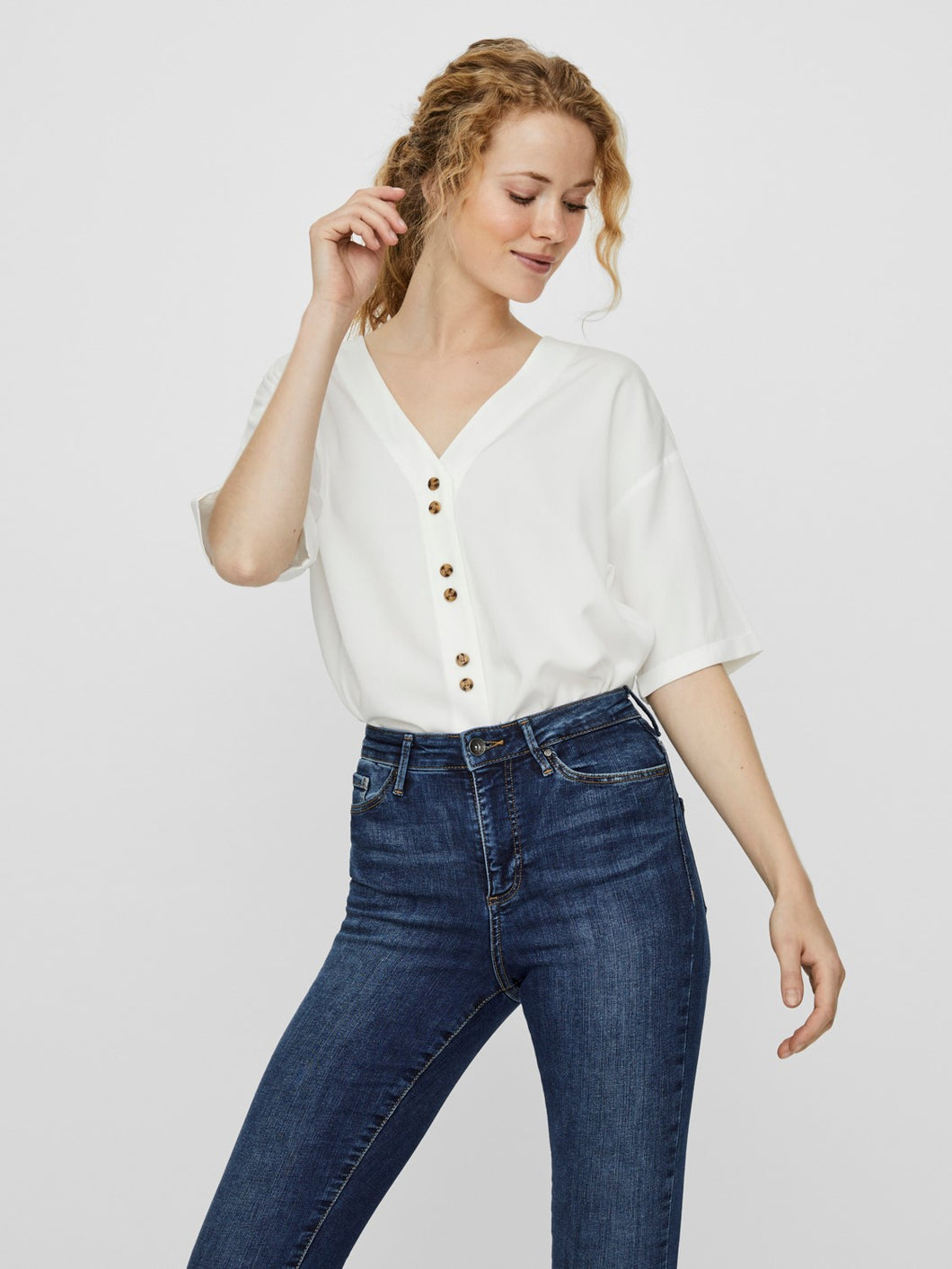 White V Neck Button Front Shirt
