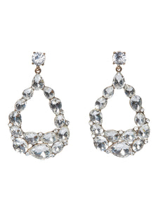 Clear White Melange Drop Earrings