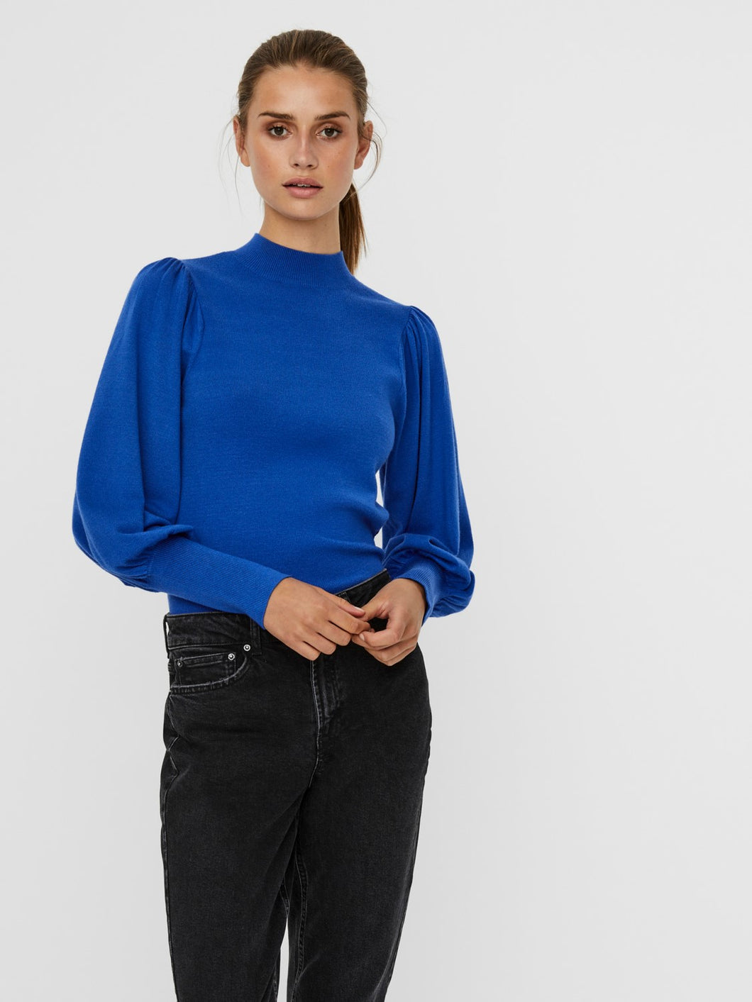 Karis Puff Sleeve Jumper - Dazzling Blue