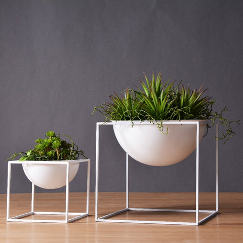 White Tabletop Vase Metal Square Flower Plant Pot