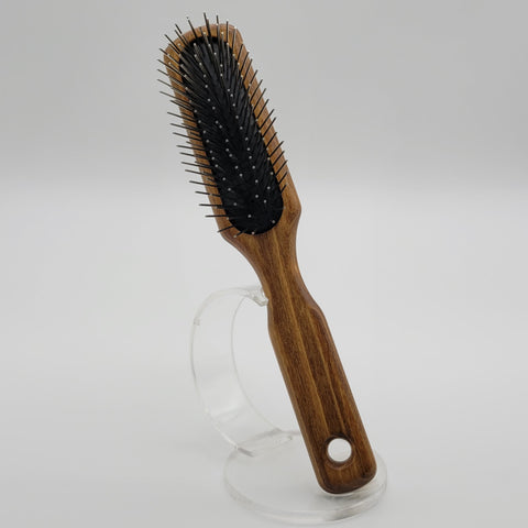 Oblong Pin Brush Wood Handle