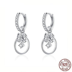 Silver Lively Bow Drop Earrings