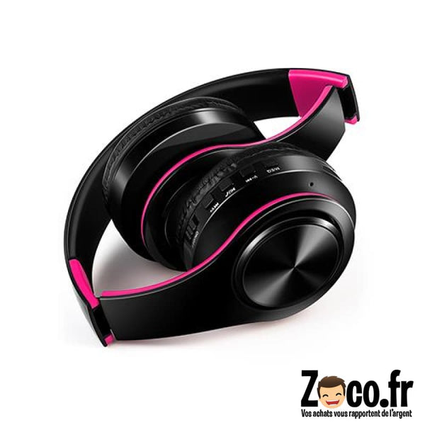 Casque Stéréo Sans Fil Bluetooth Colorful Noir/rose
