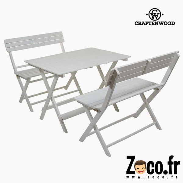 Ensemble Table + 2 Chaises (100 X 70 Cm) Bois De Peuplier Mobilier