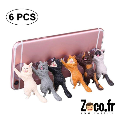 Lot De 6 Chats Ventouses Support Smartphone Ou Tablette Support