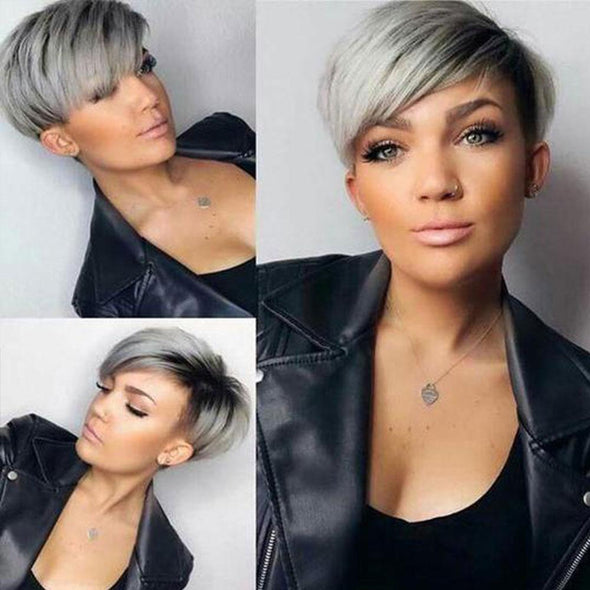 Short Pixie Layered Straight Wig for Black Women