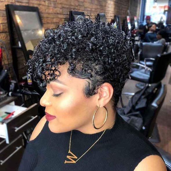 Kinky Short Curly   Hair Wig with Bangs for Women