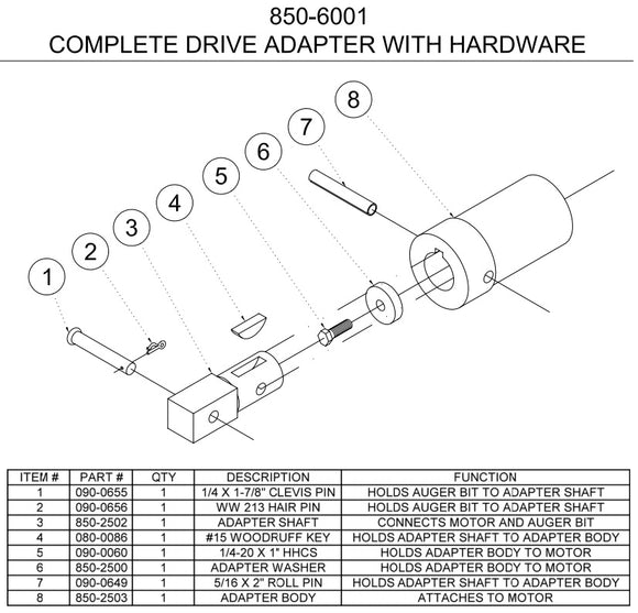 Easy Auger drive adaptor c/w hardware