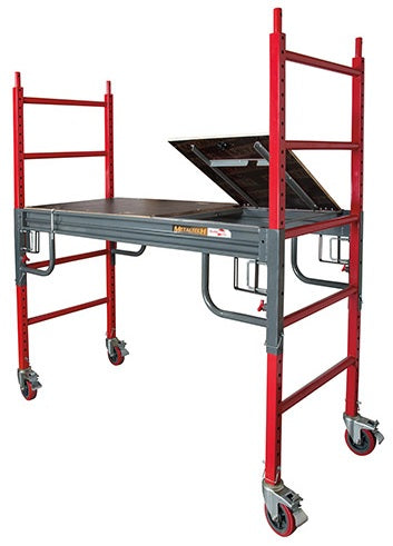 Scaffold rolling tower Buildman Baker 6 ft square tube frame 1,500 LB capacity, 6 in casters, SafeClimb platform