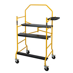 scaffold rolling tower Jobsite folding frame 5 foot 900 LB capacity c/w guard rail and tool shelf