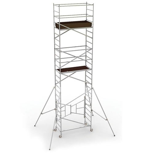 Aluminum EASY-SET SCAFFOLD TOWER™ 18 foot platform height with guardrails and outriggers