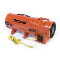 Blower 8 inch 115 volt .33 HP axial fan 902 CFM free air c/w 8 inch hose 25 feet & cannister