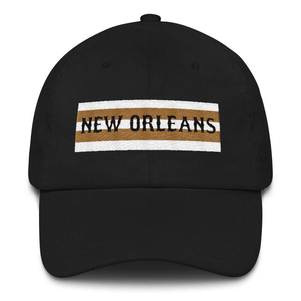 New Orleans Black & Gold Stripe Chino Hat - NOLA T-shirt, New Orleans T-shirt