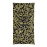 Black & Gold Fleur de Lis Paisley Neck and Face Mask Gaiter - NOLA T-shirt, New Orleans T-shirt