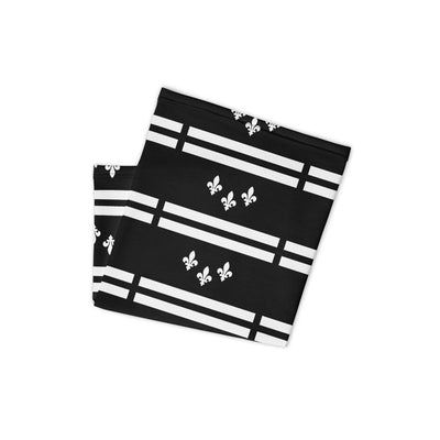 New Orleans Flag White-Black Stencil Neck and Face Mask Gaiter - NOLA T-shirt, New Orleans T-shirt