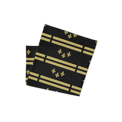 New Orleans Flag Black-Gold Stencil Neck and Face Mask Gaiter - NOLA T-shirt, New Orleans T-shirt